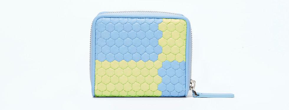 """Atelier_Micro Round Zip Wallet """"Ichimatsu-Baby Blue/ Green"""""""