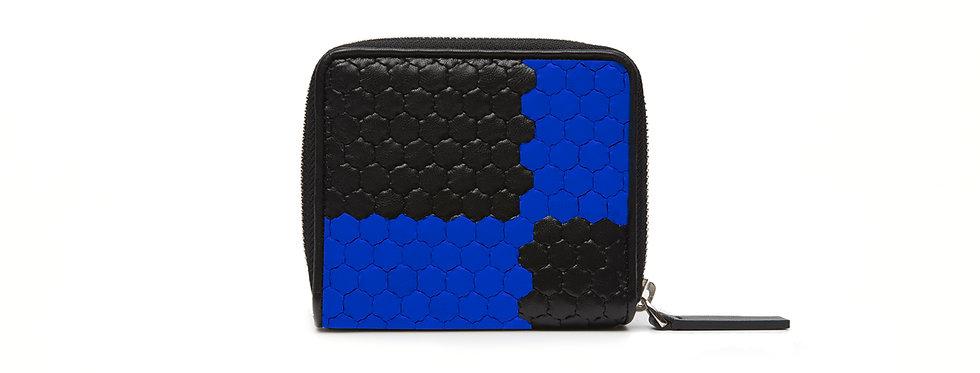 """Atelier_Micro Round Zip Wallet """"Ichimatsu-Black/ Blue"""""""