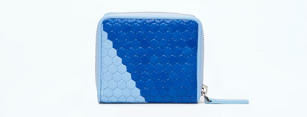 """Atelier_Micro Round Zip Wallet """"Slant-Baby Blue/ French Blue"""""""
