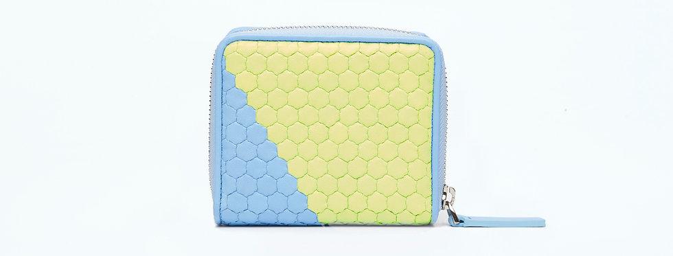"Atelier_Micro Round Zip Wallet ""Slant-Baby Blue/ Green"""