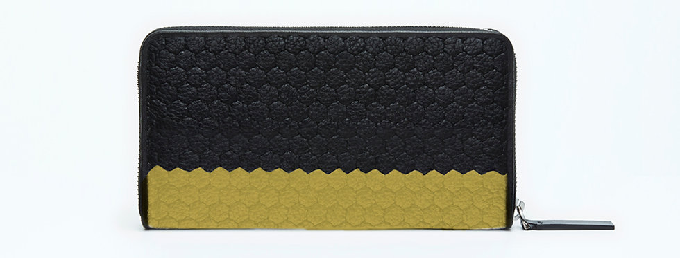 "Atelier_Round Zip Wallet/ Steer leather ""Border-Black/ Solid Beige"""