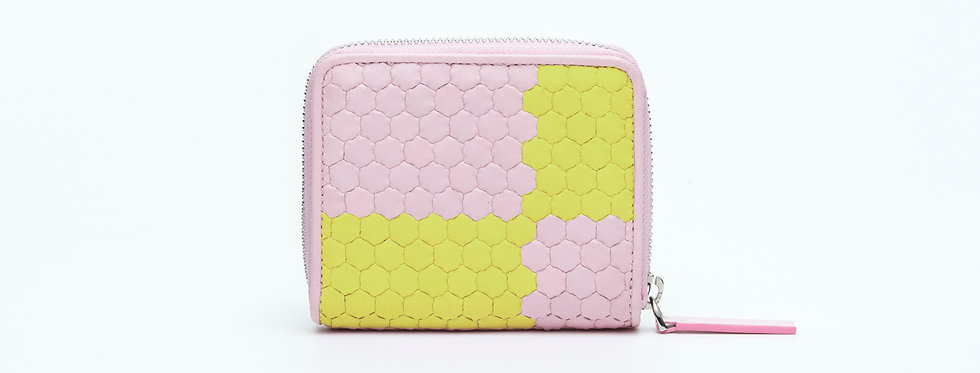 "Atelier_Micro Round Zip Wallet ""Ichimatsu-Pink/ Green"""