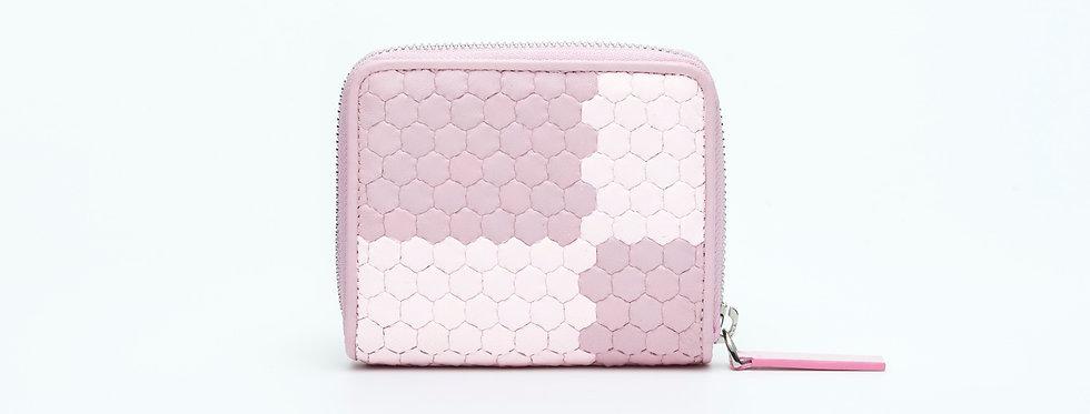 "Atelier_Micro Round Zip Wallet ""Ichimatsu-Pink/ White"""