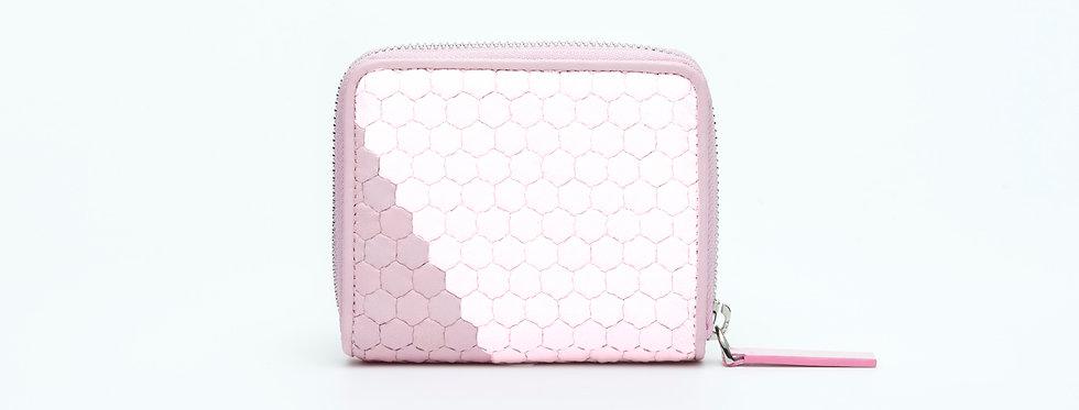 """Atelier_Micro Round Zip Wallet """"Slant-Pink/ White"""""""