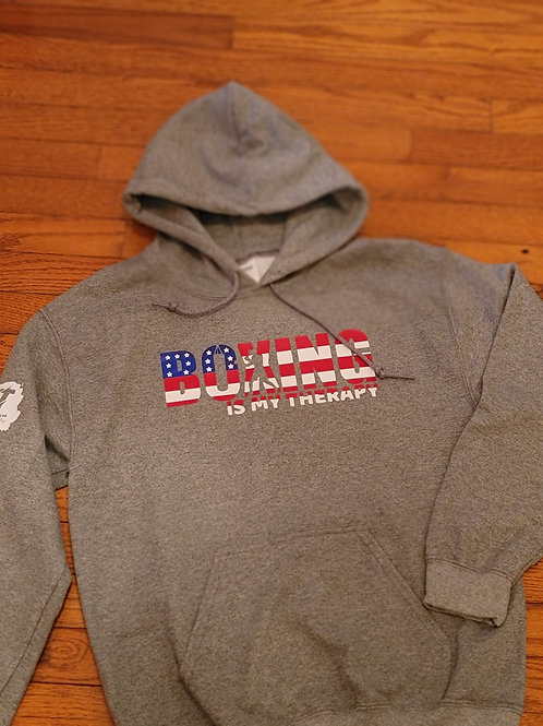 Boxing Is My Therapy USA flag edition pullover hoodie.