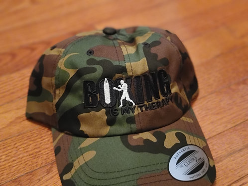 Boxing Is My Therapy black stitch dad hat.