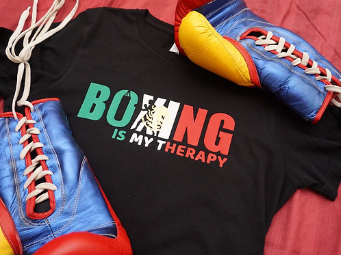 Boxing is my Therapy Mexican flag print t-shirt