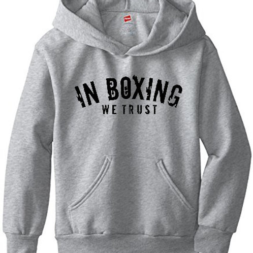 IN BOXING WE TRUST pullover hoodie.