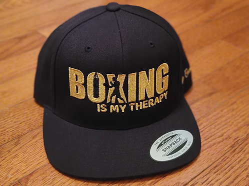 Boxing Is My Therapy gold stitch snapback