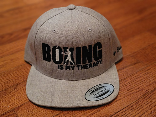 Boxing Is My Therapy snapback black stitch