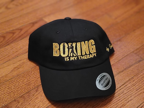 Boxing Is My Therapy gold stitch dad hat.