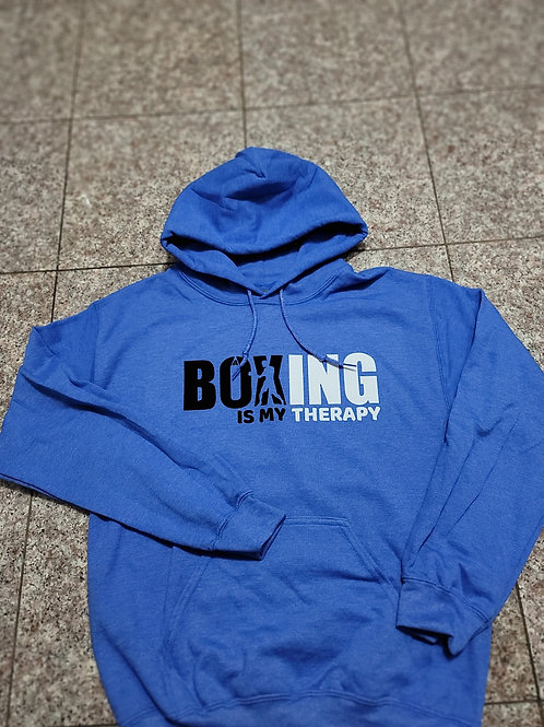 Boxing Is My Therapy pullover hoodie.