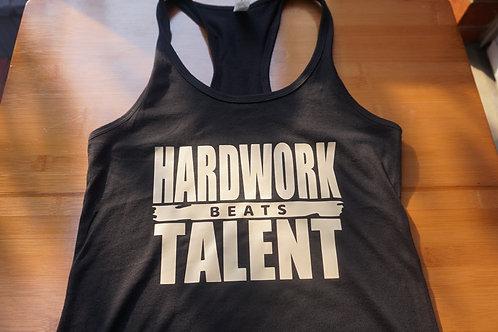 HARDWORK beats TALENT ladies racerback tank top.