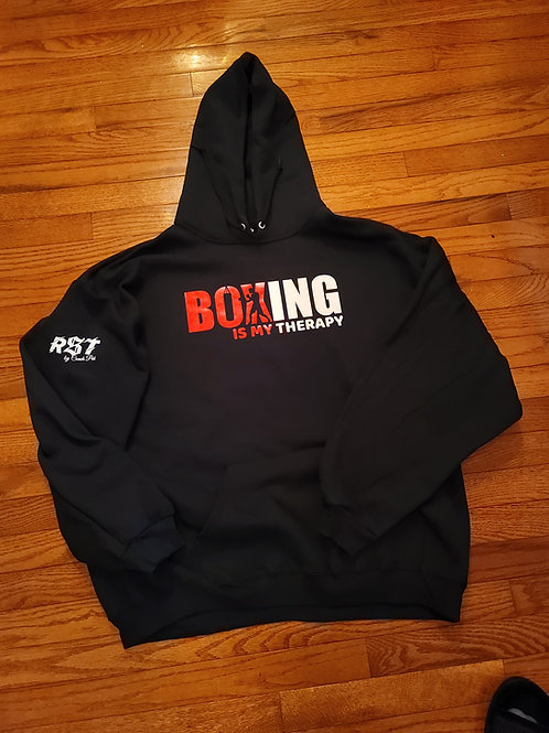 Red and white print boxing is my therapy pullover hoodie