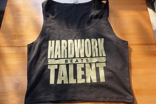 HARDWORK beats TALENT ladies crop top.