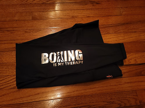 Boxing Is My Therapy metallic silver print leggings