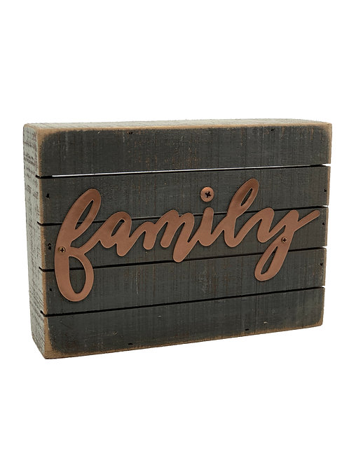 Copper Family Slat Box Sign