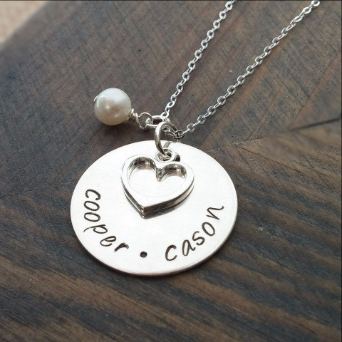 Single Disc, Heart & Pearl Charm Personalized Necklace