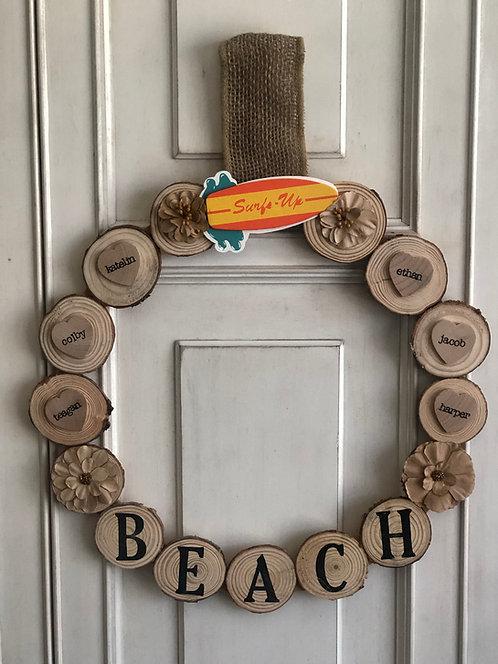 Rustic Beach Log Wreath