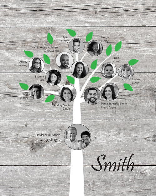 3 Generation Family Canvas, Traditional Tree