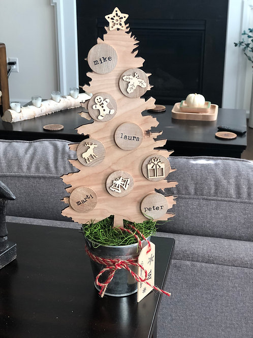 Rustic Wood Seasonal Tree in Galvanized Bucket