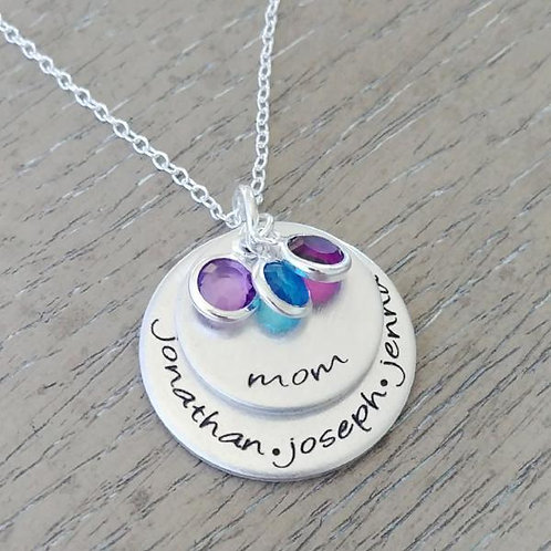 Two Disc & Birthstones Personalized Necklace