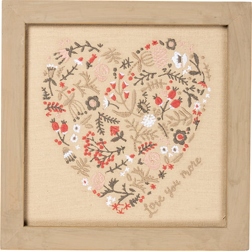 Love You More Stitched Wall Decor