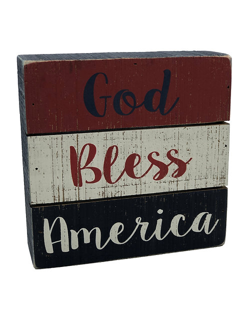 God Bless America Slat Box Sign