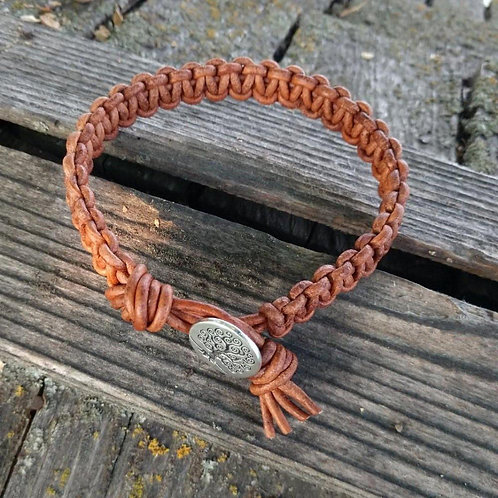 Large Mens Tree of Life Macrame Leather Bracelet