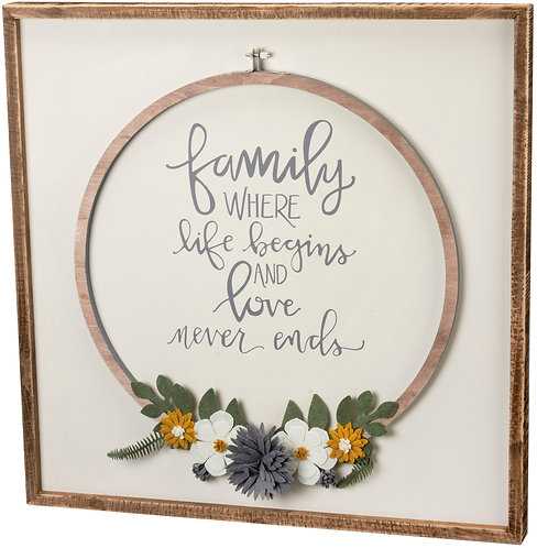 Family Life Begins Hoop Accent Box Sign