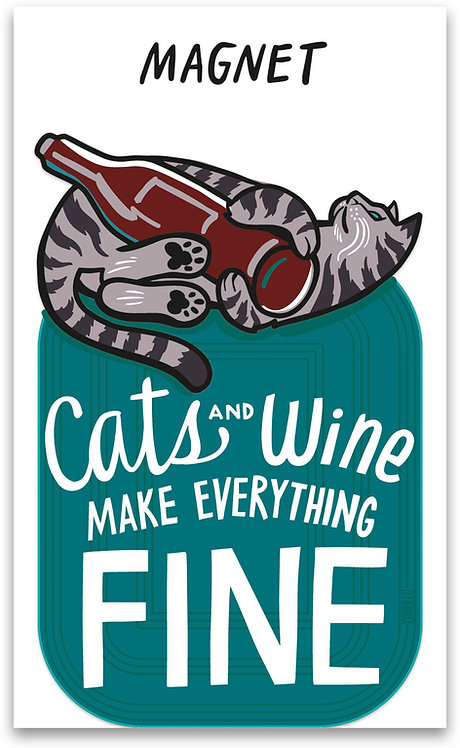 Cats and Wine Magnet