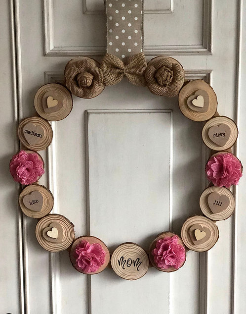 Perfect in Pink Rustic Hearts Wreath