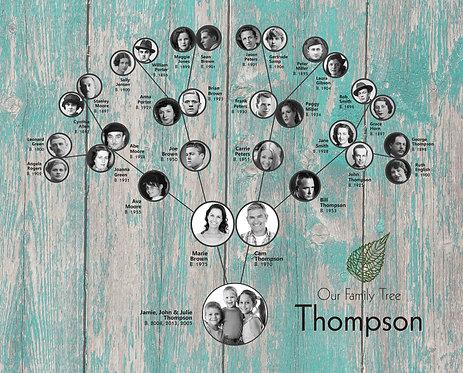 4-7 Generation Ancestors Canvas, Architectural Tree