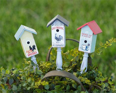 Mini Birdhouse Picks (Set of 3)