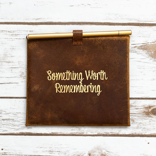 """""""Something Worth Remembering"""" Leather Envelop and Cards"""