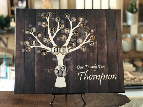 4-7 Generation Family Canvas, Modern Tree