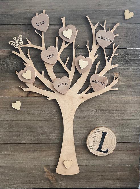 Rustic Wood Family Tree on Barnwood