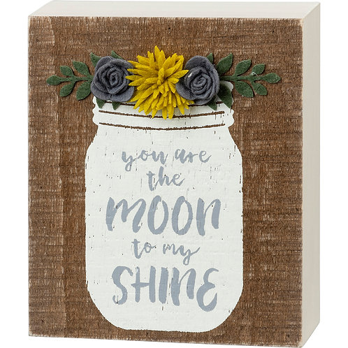 Moon to My Shine Felt Floral Box Sign