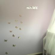 女の子キッズルーム4.5畳 クロス施工、ウォールデコレーション、扉リメイク