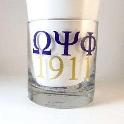Omega Psi Phi Whiskey Glass