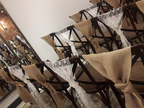 Hessian and Lace Sashes at The Hurt Arms