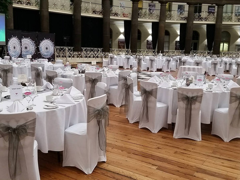 Chair Covers with Dark Grey/Silver Organza Sashes