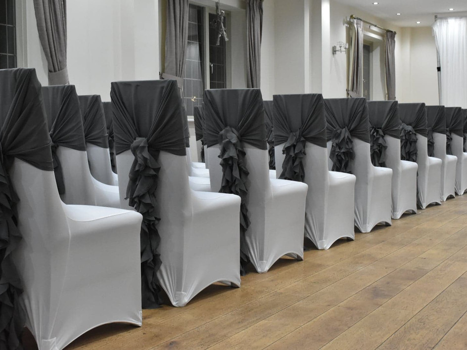Chair covers with Grey Ruffle Hood