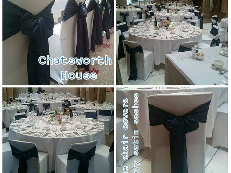 Chair covers with Navy Satin Sashes