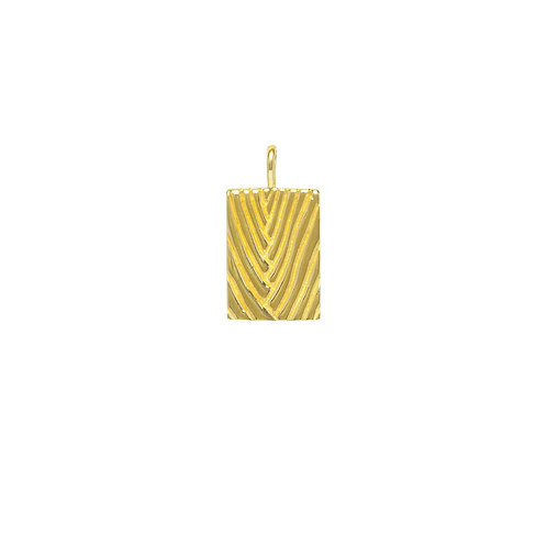 SQUARE PALM PENDANT GOUD