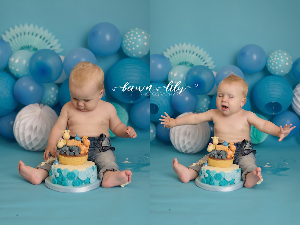 Baby boy cake smash, balloons, Noah's Ark Cake, Themed Cake Smash, Victoria BC Photographer