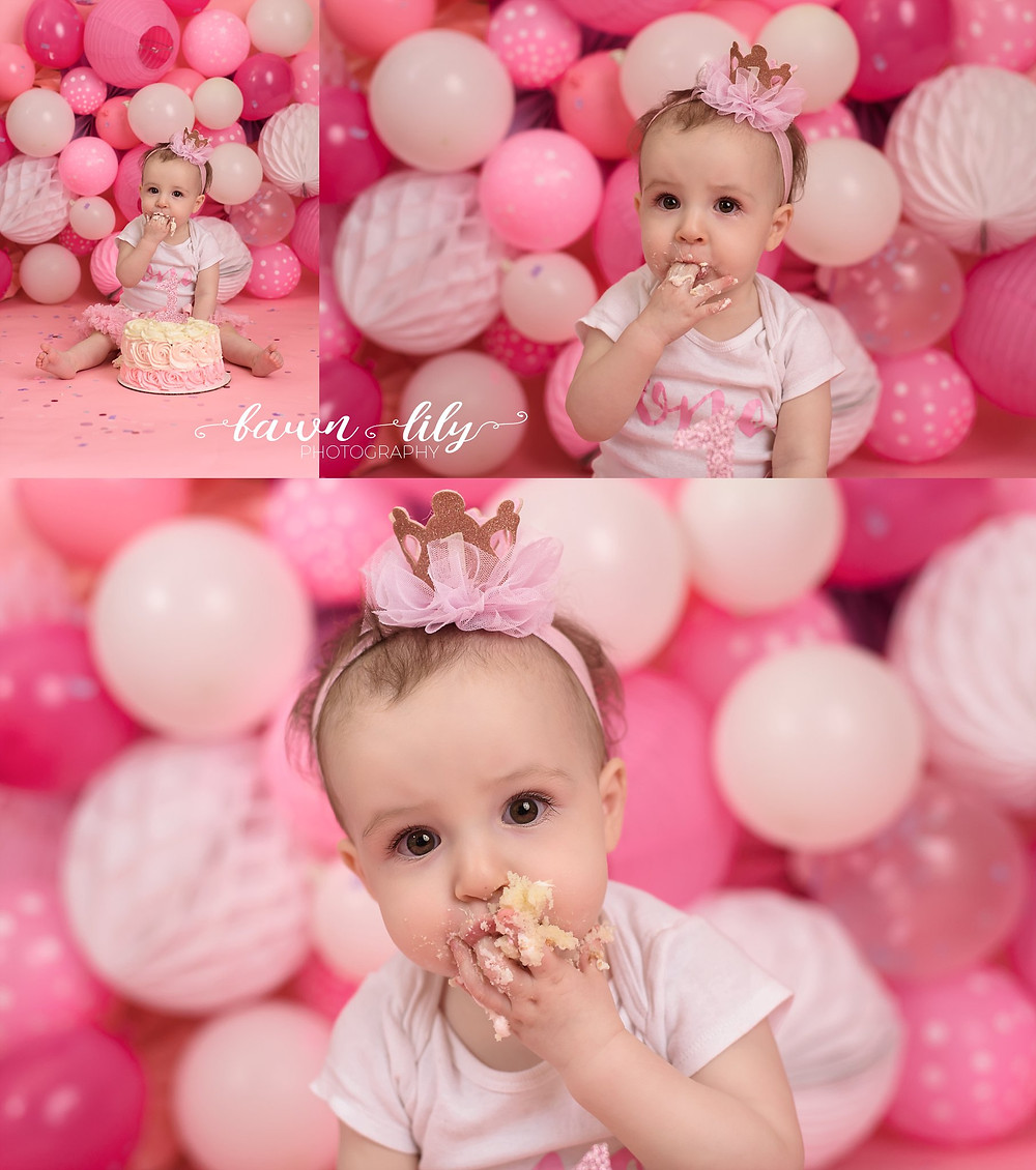 Mouth full of cake, cake smash, balloon backdrop, first birthday, pink, Victoria BC Photographer