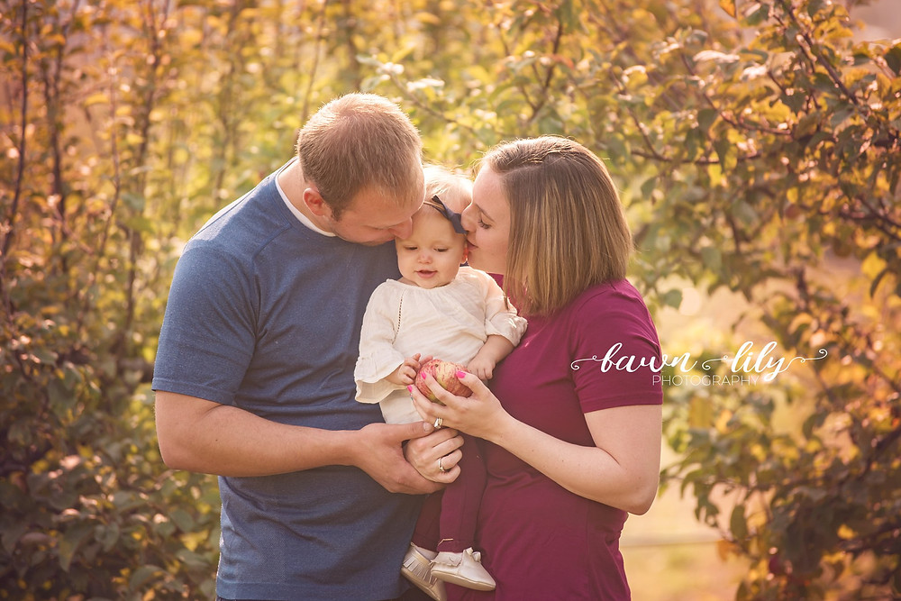 Family of three, small family photos in a apple orchard, Baby photos, Fawn Lily Photography