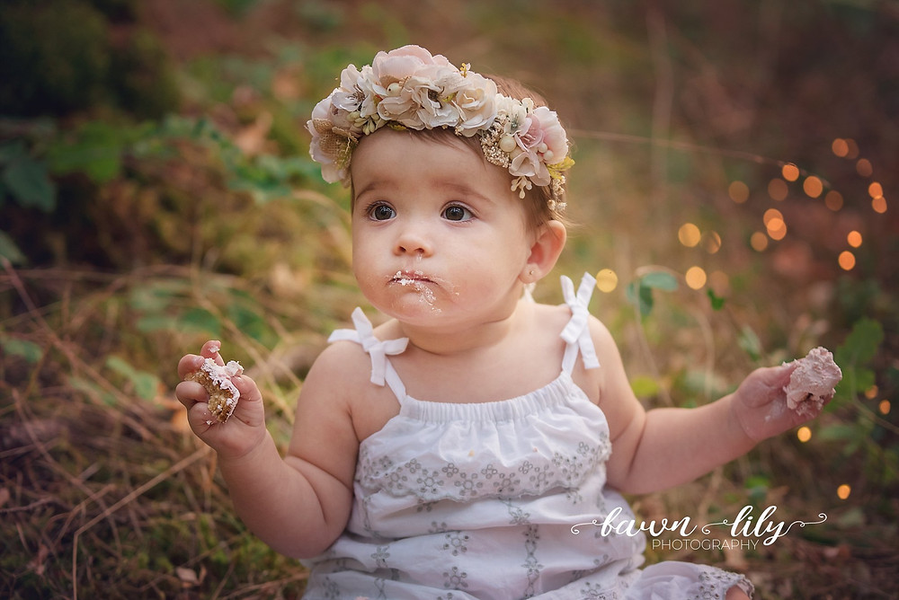 Whimsical Cake Smash, Outdoor Cake Smash, Twinkle Lights, Floral Crown, Victoria BC Cake Smash Photographer