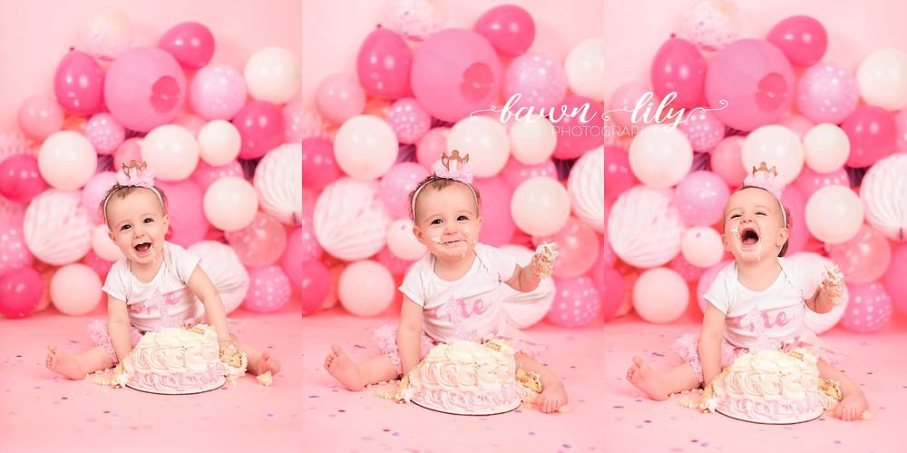 Victoria BC Photographer, Baby Photos, Cake Smash, Birthday Girl, Balloons, One